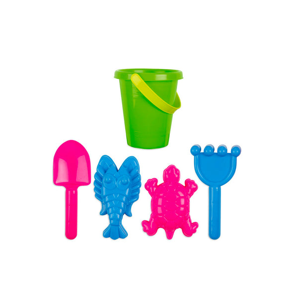 This promotional beach set includes a rake, two sand moulds, a bucket and spade. This can be branded with a 1 colour print to the bucket