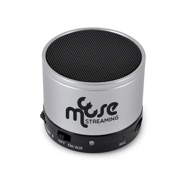 This promotional bluetooth speaker can be branded with your logo laser engraved to the front. This speaker features a 3.5mm headphone jack, micro SD card slot and built in microphone