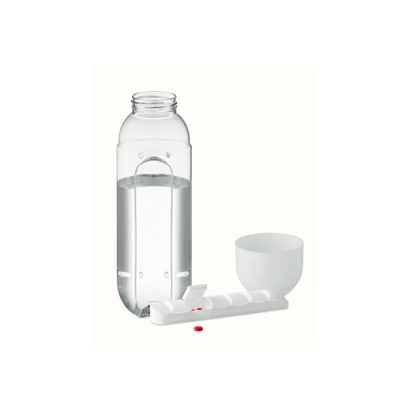 This promotional water bottle features a detatchable pill box and can be branded with a 1 colour print. This unique drink bottle has a 600ml capacity