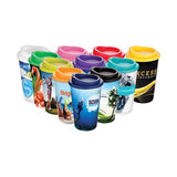 This promotional travel mug can be branded with a full colour wraparound print. This print is moulded to the coffee cup, making it long lasting and durable. This travel cup has a 350ml capacity, is top rack dishwasher safe, microwave safe and BPA free
