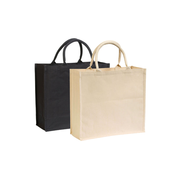 This promotional canvas bag can be printed with a 1 colour print to 1 side. This promotional bag is made from durable 7oz cotton canvas and features rope handles and includes LDPE laminated backing for added structure