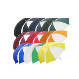 This promotional umbrella is branded either 1 colour or full colour to 1 panel. This umbrella features a windproof iron stem and a polished wooden handle