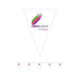 A5 Triangular Bunting. 5m in length. Printed with the Purple Light Up logo to each flag. Made for indoor use. *Price includes delivery to 1 UK address*