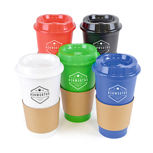 This promotional travel mug can be branded with a 1 colour print. This coffee cup features a single walled design and is supplied with a cardboard grip. This travel mug comes in red, black, white, green and blue