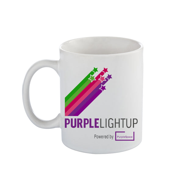 White Cambridge Ceramic Mug printed in full colour with the PurpleLightUp logo. 330ml capacity. *Price includes delivery to 1 UK address*