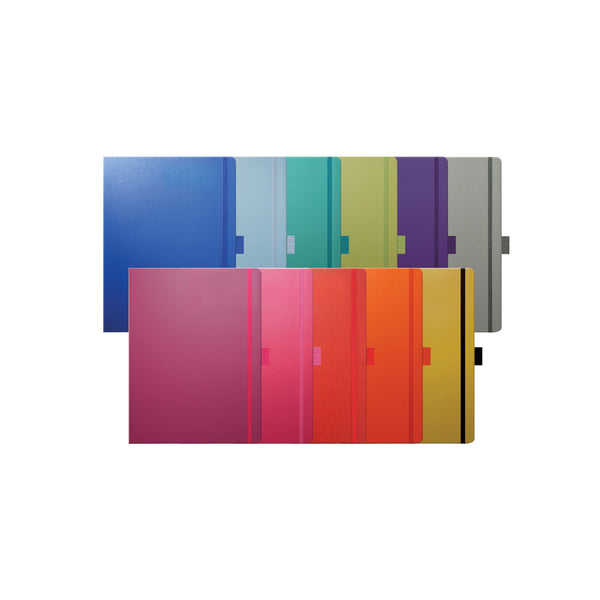 promotional notebook contains 240 lined ivory pages. branded either full colour or embossed with clear foil.