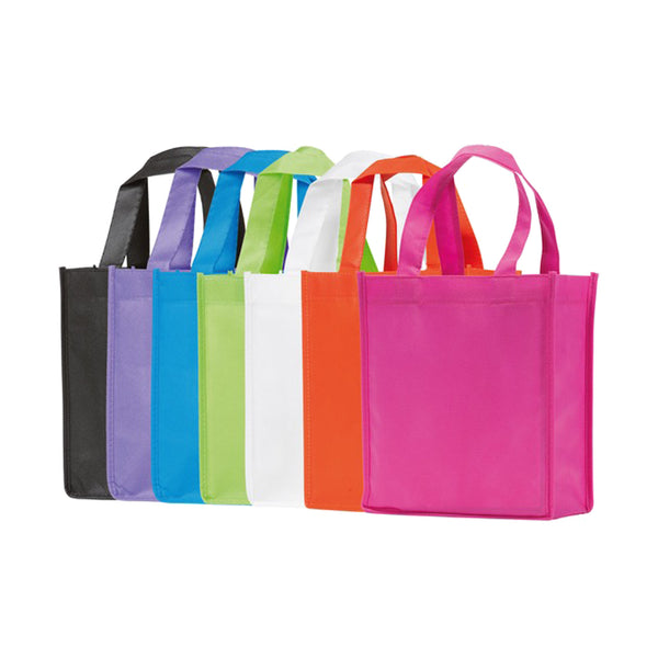 This promotional bag can be branded with a 1 colour or full colour print to 1 side. This gift bag is made from partly recycled 70gsm non woven polypropylene