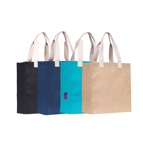 This promotional bag can be branded with a 1 colour print to 1 side. THis eco tote bag is made from natural jute and features laminate backing for added structure. This shopper bag includes side pockets and cotton webbing handles