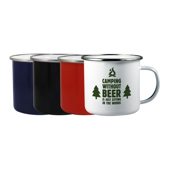 This promotional mug can be branded with a 1 colour print to 1 side. This enamel mug features a silver rim and comes in white, red, black and blue. This mug is perfect to use outdoors