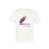 White T-shirt printed in full colour to the front with the PurpleLightUp logo. Cotton, Lycra® Rib Neck. Taped Neckline. Twin Needle Stitching. Material: 100% Cotton. Size Guide Size: S M L XL XXL Chest (to fit): 35/37 38/40 41/43 44/46 47/49 *Price includes delivery to 1 UK address*