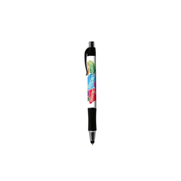This promotional pen can be branded with a full colour digital print. This pen features black trim and a soft stylus on the nib which is suitable with all tablets and smartphones