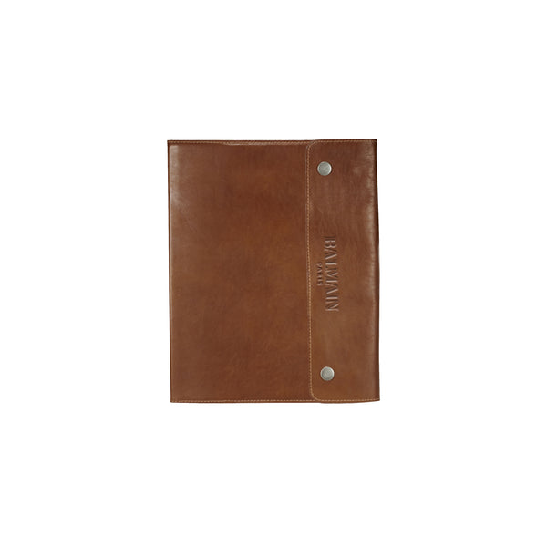 This promotional leather journal can be branded with a debossed logo to the front cover. This journal is made from genuine leather and features snap closure, pen look, ribbon page marker and business card slot.