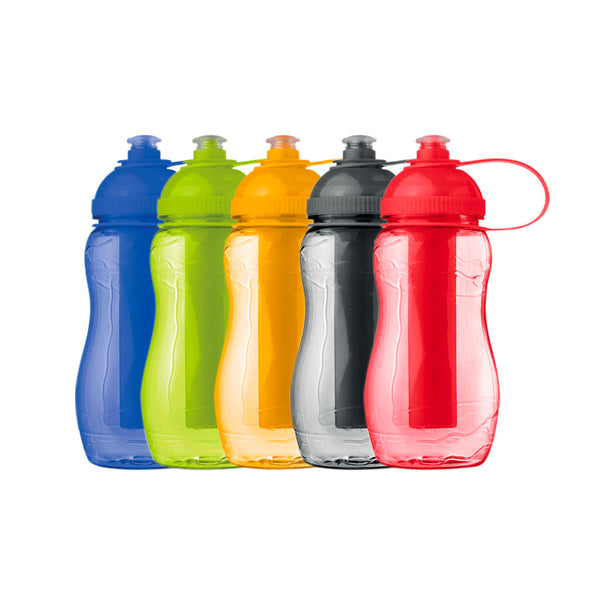 This promotional water bottle can be branded with a 1 colour print and features a coloured freezing tube which helps keep your drink cold for longer.
