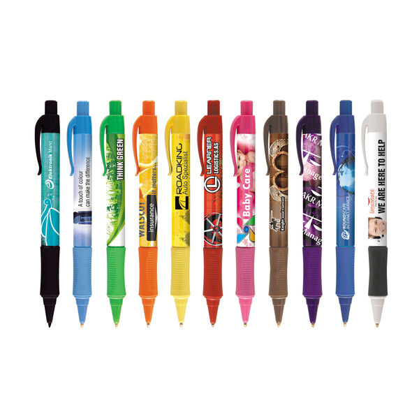 This promotional pen can be branded with a full colour logo around the barrel and features rubberised grips and bright trim colours
