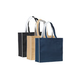 This large, environmentally friendly, eco tote bag is made from 14x15 natural jute and features laminate backing for added structure. This bag features contrast piping and handle made from white non woven polypropylene.