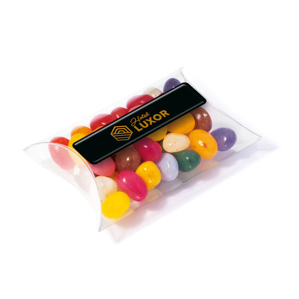 These promotional jelly beans are provided in a large clear pouch and are branded with a full colour domed label. You can also choose the colour of the jelly bean factory jelly beans to match your brand colours
