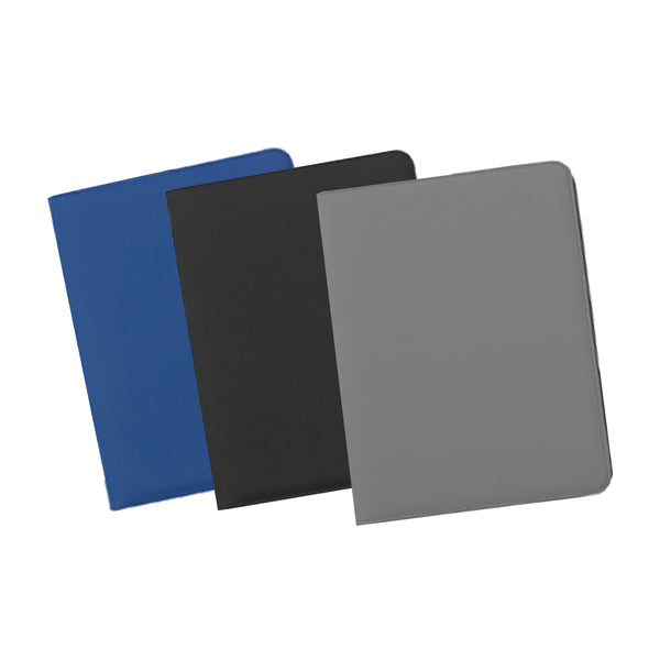 This promotional document wallet is made from reach compliant soft feel PVC and can be branded with a 1 colour or full colour print. This document wallet features a tablet pocket, tablet/phone displayer, organiser section with pocket/tidies, pen loop, USB holders and 20 page lined notepad.