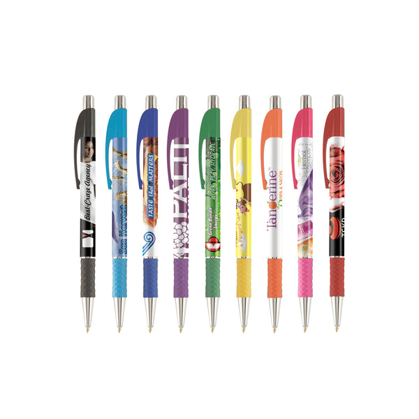 This promotional pen can be branded with a full colour logo to the barrel and features a coloured grip and a matching curved clip.