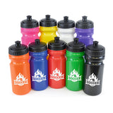 This promotional water bottle can be branded with a 1 colour print to 1 side. This sports bottle holds 500ml of liquid and includes a black plastic screw top lid and sports sip cap.