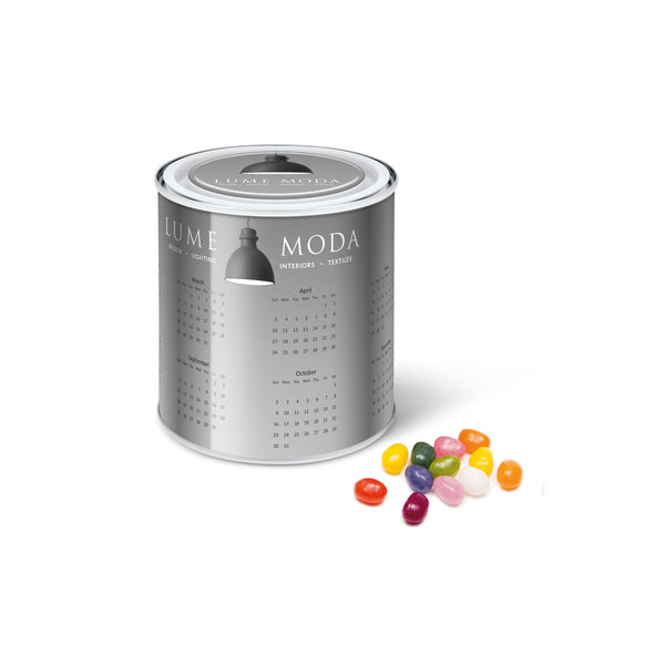 These promotional jelly beans are supplied in a mini paint style tin which is branded with a full colour domed label to the lid and a full colour wrap around label to the tin. You can also choose the colour of the jelly bean factory jelly beans to match your brand colours