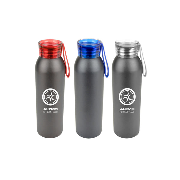 650ml black aluminium sports bottle with coloured screw top lid and silicone strap. Available in black with blue, red and white trim.