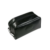 This promotional wash bag is made from genuine leather and can be branded with a blind embossing of your logo