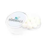 These promotional mint imperials are supplied in a large round pot. These promotional sweets are branded with a full colour domed label to the top