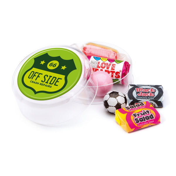 These promotional sweets are supplied in a large round pot and are branded with a full colour domed label to the lid. Included in this pot are a range of retro style sweets such as gobstoppers, fruit salads and love hearts