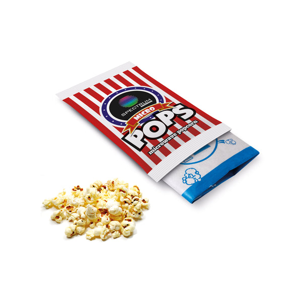 This promotional popcorn is supplied in a digitally printed flow bag and branded with your logo applied on a paper label. The popcorn inside is microwavable