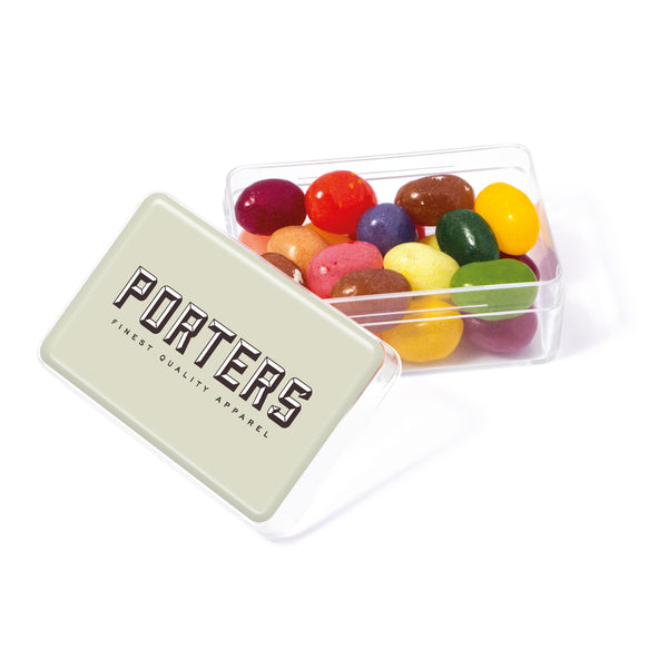 These promotional jellybeans are supplied in a mini rectangular pot. These sweets are branded with a full colour domed label to the lid