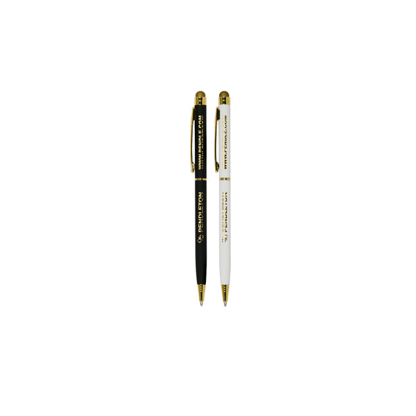 Striking, slimline, twist-action ballpoint pen with built-in stylus. Choice of glossy white or black barrel with shiny gold coloured trim. Mirror engraving reveals a stunning gold finish to really showcase your branding. Choice of blue or black writing ink. Bulk packed in bags of 50.