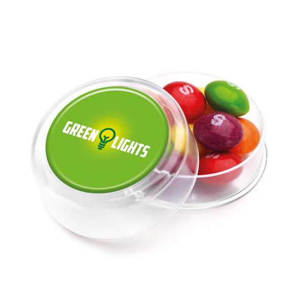 This promotional pot of sweets contains skittles in a mini round container. This product is branded with a full colour printed label to the lid