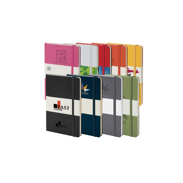 This promotional notebook can be branded with a 1 colour print or clear/coloured foil blocking to the cover. It features rounded corners, elasticated closure and ribbon book marker. Available in a range of colours