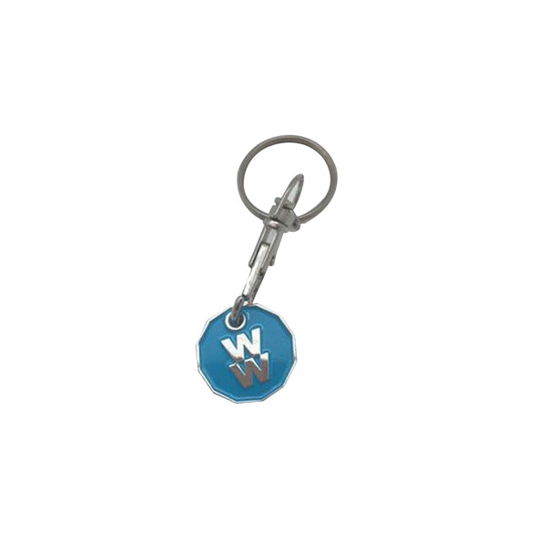 This promotional trolley coin keyring comes with a detatchable trigger clip and split ring. It is branded by stamping and infilling your design with soft infill colours