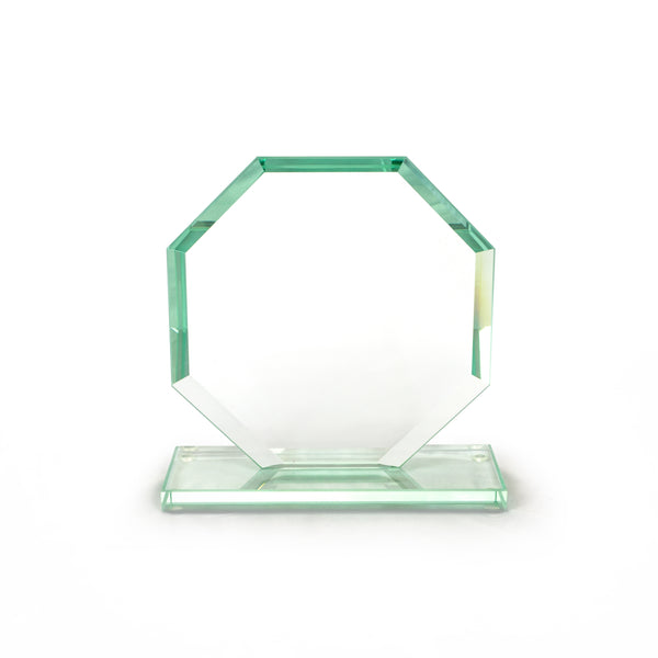 This promotional award is made from jade glass with bevelled edges. It is branded with your logo and message laser engraved to the center of the octagon.