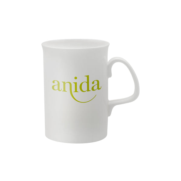 This promotional bone china mug can be branded with a 1, 2 or full colour print and features a contemporary shape and a large comfortable handle.