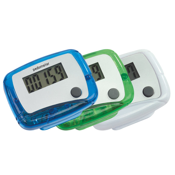 This promotional pedometer can be branded with a 1 colour print and comes in white, blue and green