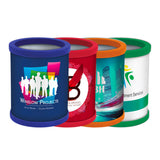 This promotional pen pot is supplied as flat pack for easy storage and is branded with a full colour wrap around label.