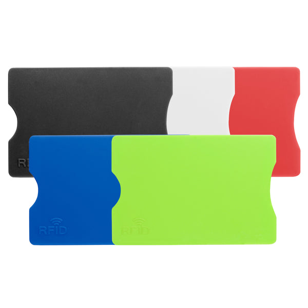 This promotional RFID card holder is branded with a 1 colour print the front. This card holder blocks contactless signals from your bank card and comes in a range of bright colours
