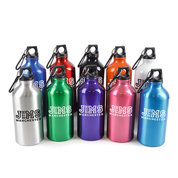 This promotional drinks bottle can be branded with a 1 colour print and is available in a range of bright colours. This aluminium bottle can hold 550ml of liquid