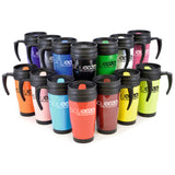 This promotional travel mug can be branded with a 1 colour print and features a double walled design for extra insulation. This promotional mug also comes with a screw on lid and coloured sip cover.  This thermal mug can hold 400ml of liquid and comes in a range of colours