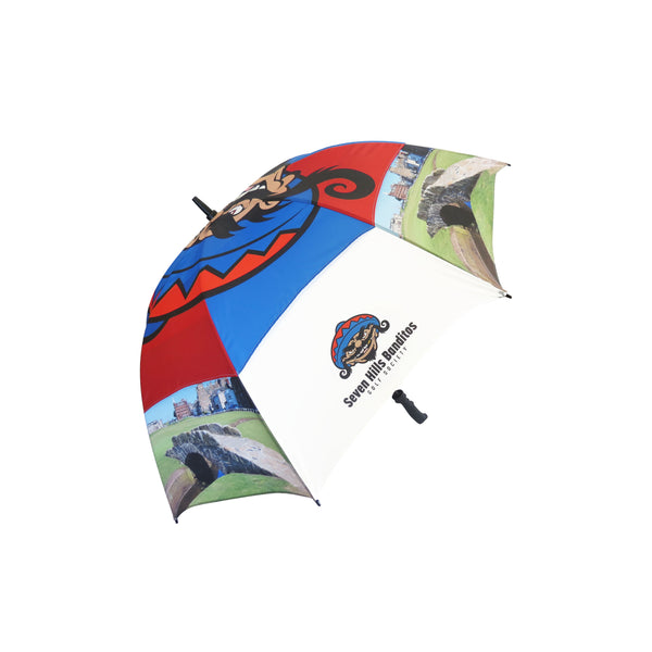 This promotional umbrella can be branded with a 1 colour or full colour print to 1 panel. This umbrella features a sturdy 16mm fibreglass frame with a high quality soring loaded tip cup stormproof fibreglass ribs. This promotional product also features a safety button opening mechanism and a rubber coated pistol grip