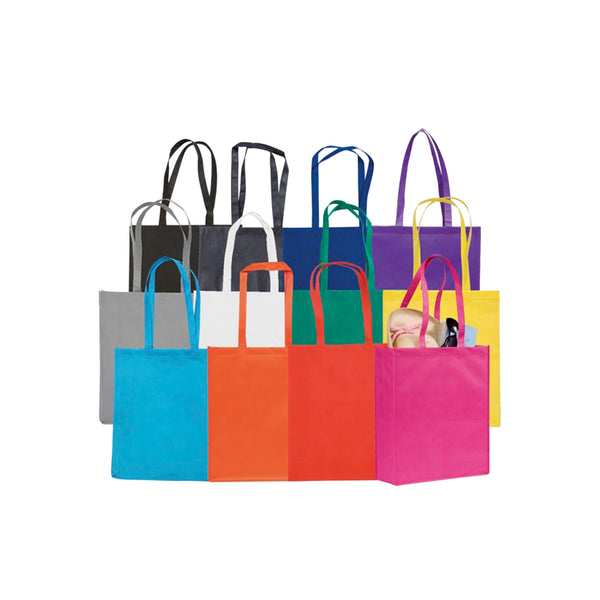 This promotional bag can be branded with a 1 colour or full colour print. This promotional tote bag is made from partly recycled reach compliant non woven polypropylene