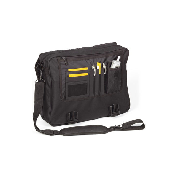 a zipped, extendable main compartment, organiser section, curved rubberized handle, metal accessories, and a shoulder strap.