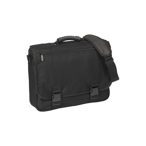 This promotional laptop bag is made from reach compliant polyester and features a zipped, extendable main compartment, organiser section, curved rubberized handle, metal accessories, and a shoulder strap.