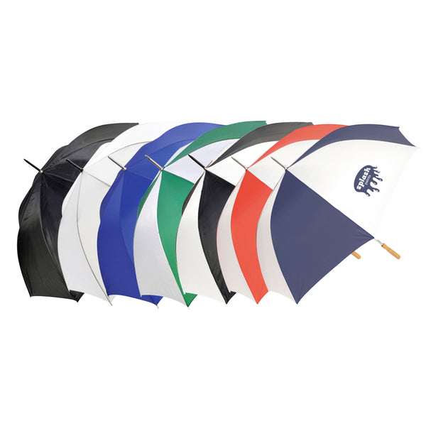"This promotional umbrella can be branded with a 1 colour or full colour print to 1 position. This 28"" automatic golf umbrella features a wooden handle and a poly-nylon material combination"