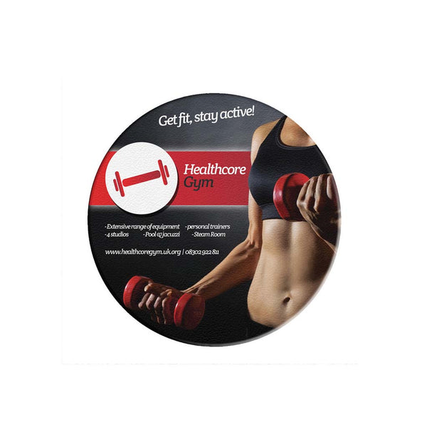 This promotional coaster is branded with a full colour print moulded into the product. This circular coaster also features a non-slip base