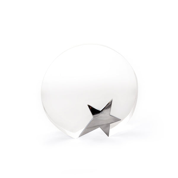 This promotional award is made from fine crystal and features a silver star to the front. This award is branded with your logo and message to the front and is presented in a gift box
