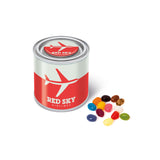 These promotional jelly beans are supplied in a small paint style tin and are branded with a full colour domed label to the lid and a full colour wrap around label to the tin. You can select which colours of the official jelly bean factory jelly beans you'd like to best match your brand colours