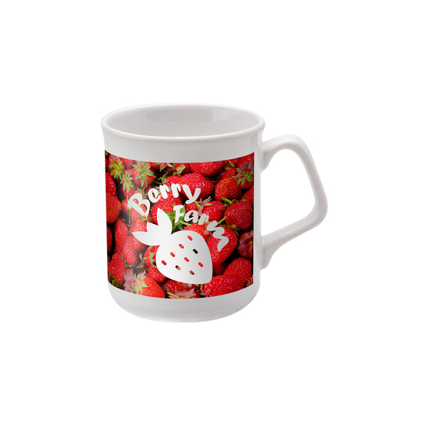 This promotional mug is branded with a full colour wrap around print. This mug has a large print area and is very cost effective